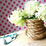 Đội mũ len, quấn dây thừng cho hoa
