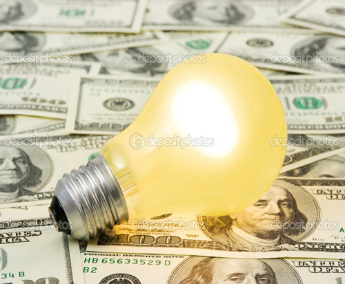 depositphotos 4172453-Lighting-lamp-on-money-background